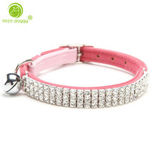 4 Colors Velvet Rhinestone Bling Puppy Collars Cats Kitten Necklace with Bell and Safety Elastic Belt Neck for 20-25cm
