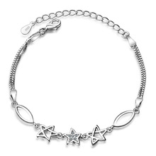 Women Fashion Jewelry Solid 925 Sterling Silver Chain Link Bracelet Female Cubic Zirconia Star Design Lovely Friendship Gift(China)
