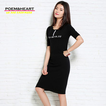 POEM&HEART 2017 New Spring Summer Korean Women LengthDress O-Neck Half Sleeve Thin Cashmere Knitwear Wool Dress Pure Color Women(China)