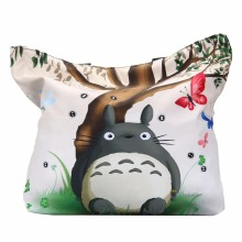 Cute Totoro Soft Zipper Shopping Bag Womens Girls Shoulder Shopping Tote Bag School Handbag Mom Bag Eco Reusable Free Shipping