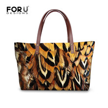 FORUDESIGNS Women Vintage Hand Bags Feather Printing Handbag Ladies Luxury Handbags Designer Beach Bags Woman Big Shoulder Bag