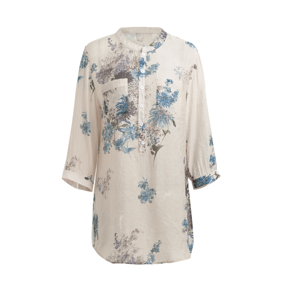 Plus Size - Vintage Floral Printed Blouse Elegant 3/4 Sleeve (Us 14-26W)