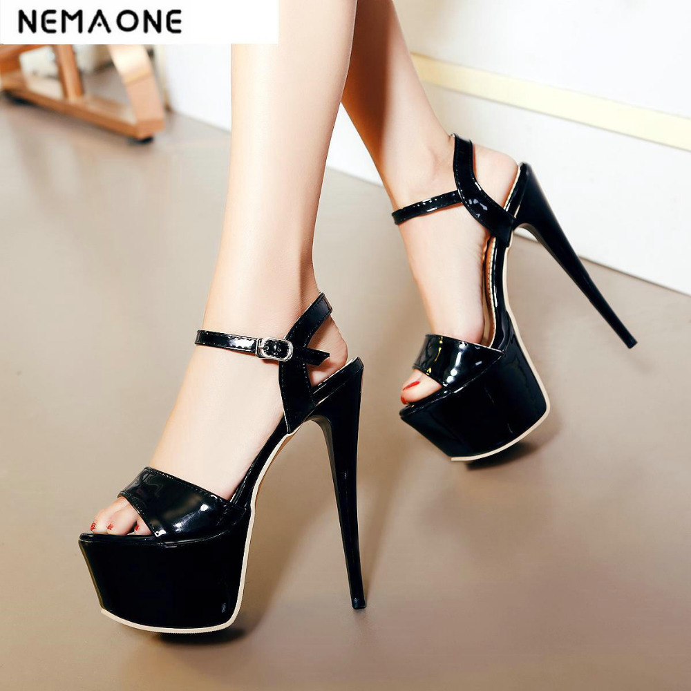 New Elegant Women Sandals open Toe Ultra Thin Heels Buckle Sandals summer platform Shoes Woman<br>
