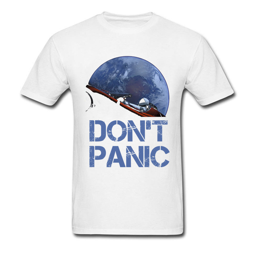 Dont Panic Starman O-Neck T Shirts Summer Tops Tees Short Sleeve New Coming All Cotton Gift Tops T Shirt Europe Men Dont Panic Starman white