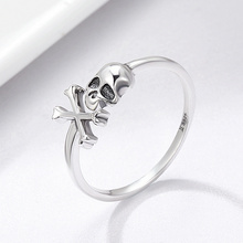 S925 925 Sterling Silver Hyperbole Skeleton Skull Pirate Ring Vintage Sterling Silver Jewellery Halloween(China)