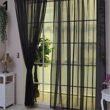 1 Pc Home Voile Pure Color Window Curtain Tulle Panel Sheer Scarf Pastoral Style Valance Decor for Livingroom Bedroom Hotel