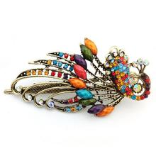 Hair Clips for Women Girls Crystal Peacock Big Hairpins Hair Accessories Barrette Donut Hair Style