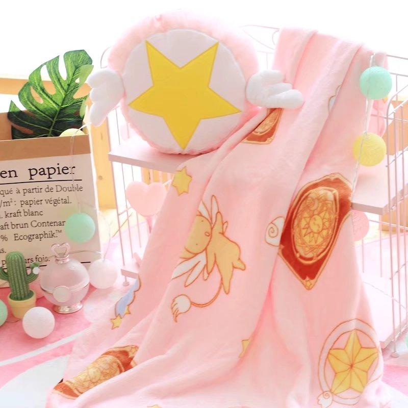 1pc 30cm Cardcaptor Sakura Star staff plush pillow coral fleece rest office cushion + blanket stuffed toy romantic gift for baby<br>
