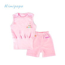 HIMIPOPO 2017 Summer Baby Clothing Sets Children Boys Girls Kids Brand Sport Suits Tracksuits Cotton Top Pants Belly Protection