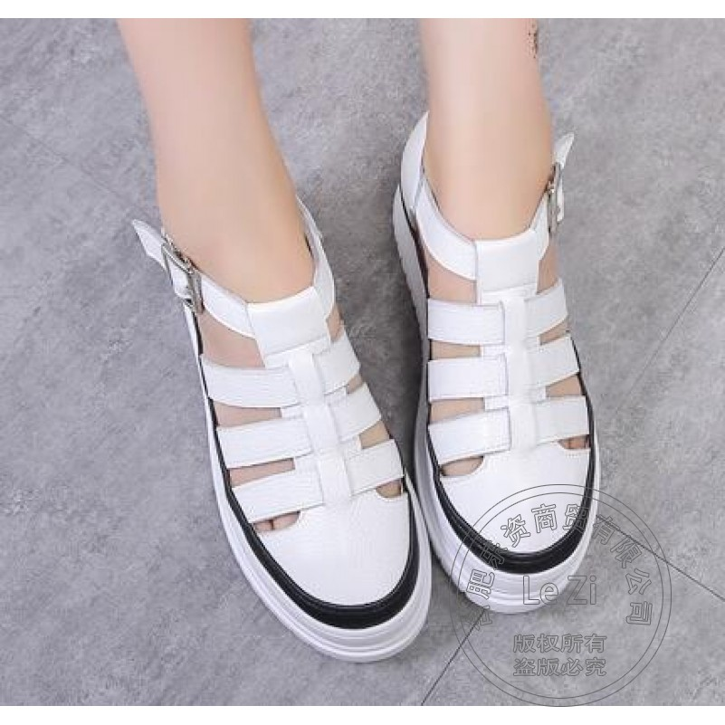 Women High Heel Shoes Buckle Cowhide Sweet Synthetic Preppy Style White Black Shoes Casual Pull On Round Toe Non Slip<br><br>Aliexpress