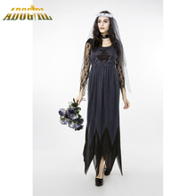 Halloween Horrible Ghost Bride Costume For Adult Cosplay Dresses New Sexy Plus Size XXL Black Long Sleeve Loose Party Slim Dress