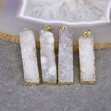 5pcs Natural White Quartz Pendant, Wide and Long Gold color edged Quartz Gem stone Pendant Jewelry Making(China)