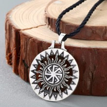 QIMING Kolovrat Handmade Pendant Necklace Slavic Amulet Pagan Solar Symbol Slavic Wheel Nordic Amulet Viking Men(Hong Kong)