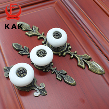 KAK 5PCS Antique Bronze Ceramic Drawer Knobs Cabinet Cupboard Handle European Style Knobs Single Hole Handles Furniture Hardware