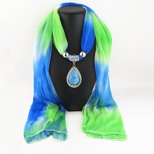 Vintage Gradient Color Water Drop Pendant Jewelry Scarves Women Necklace Colored Scarf  Female Accessories
