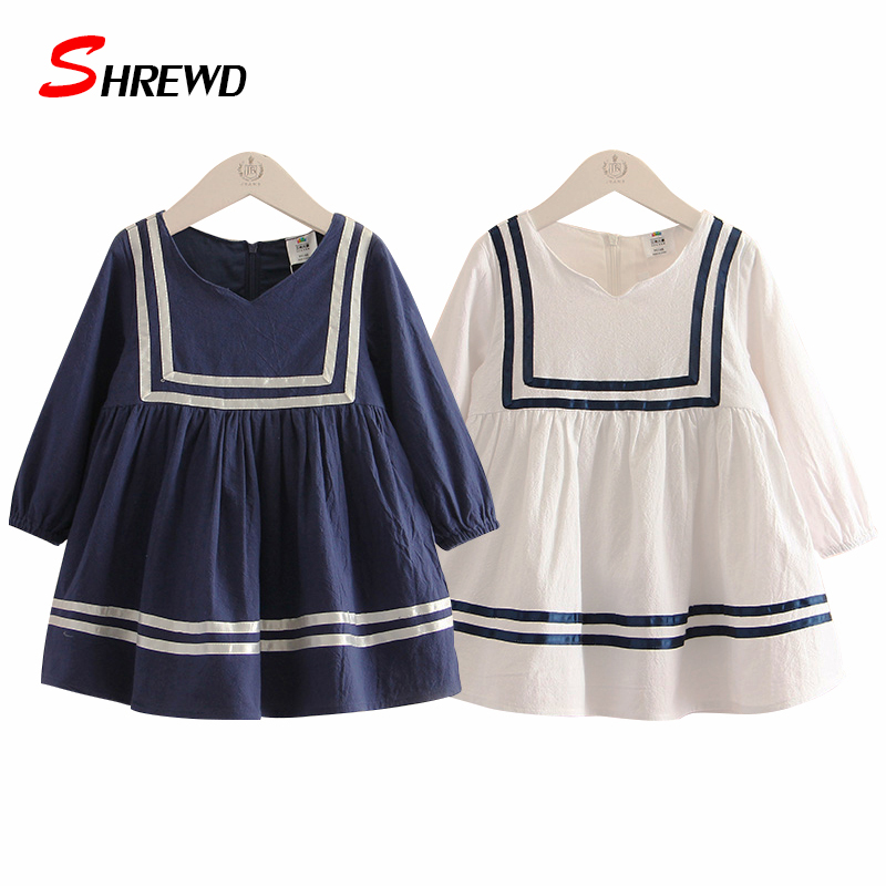 Baby Girl Dress Brand Spring Casual New 2017 Solid Girl Party Dress Simple Long Sleeve O-neck Kids Clothes Girls 4704W<br><br>Aliexpress