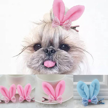 6 Pcs/lot Pet Dog Grooming Accessories Clips For Dogs Cats Clipper Dog Hairpin Pink Blue Rabbit Ear Dog Hair Bows Alloy Clips(China)