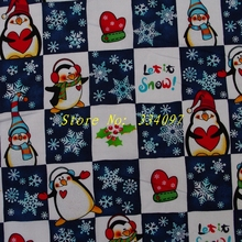 C322 - 1 yard  Hot Silver Cotton Fabric -Plaid, penguins, snowflakes, gloves(width=135cm)