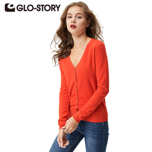 GLO-STORY Women Sweater Cardigans 2017 Lady Autumn Winter Knitted Plus size Jumper Women V-neck Sweater Coat Tops WMY-2604