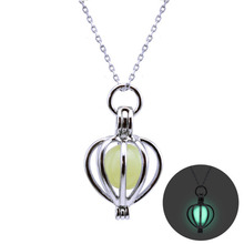 1pcs Hot Selling necklace hollow lanterns glowing necklace Halloween Christmas glowing clavicle necklaces Green blue purple(China)