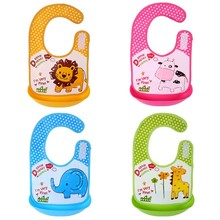 0-3 years old Infant Cartoon Three-dimensional EVA Waterproof Bib Disposable Removable Baby Eat Clothing Burp Overclothes(China)