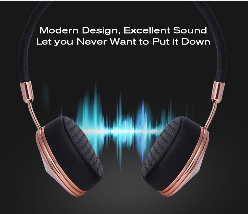 Liboer Beautiful Headphones Dynamic Headband Rose Gold Headphones with Mic Wired Headset for Mobile Phone On-ear Headphone 05