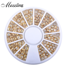 1 Box AB Beige Color Metal Edge Glitter Nail Beads Studs DIY Beauty Charm Nail Art Pearls Decorations Wheel