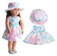 2017 Fashion 18 Inch American Girl Doll Clothes Children's Home Game Dress Up Doll Color Flower Skirt & Hat Suit Free Shipping