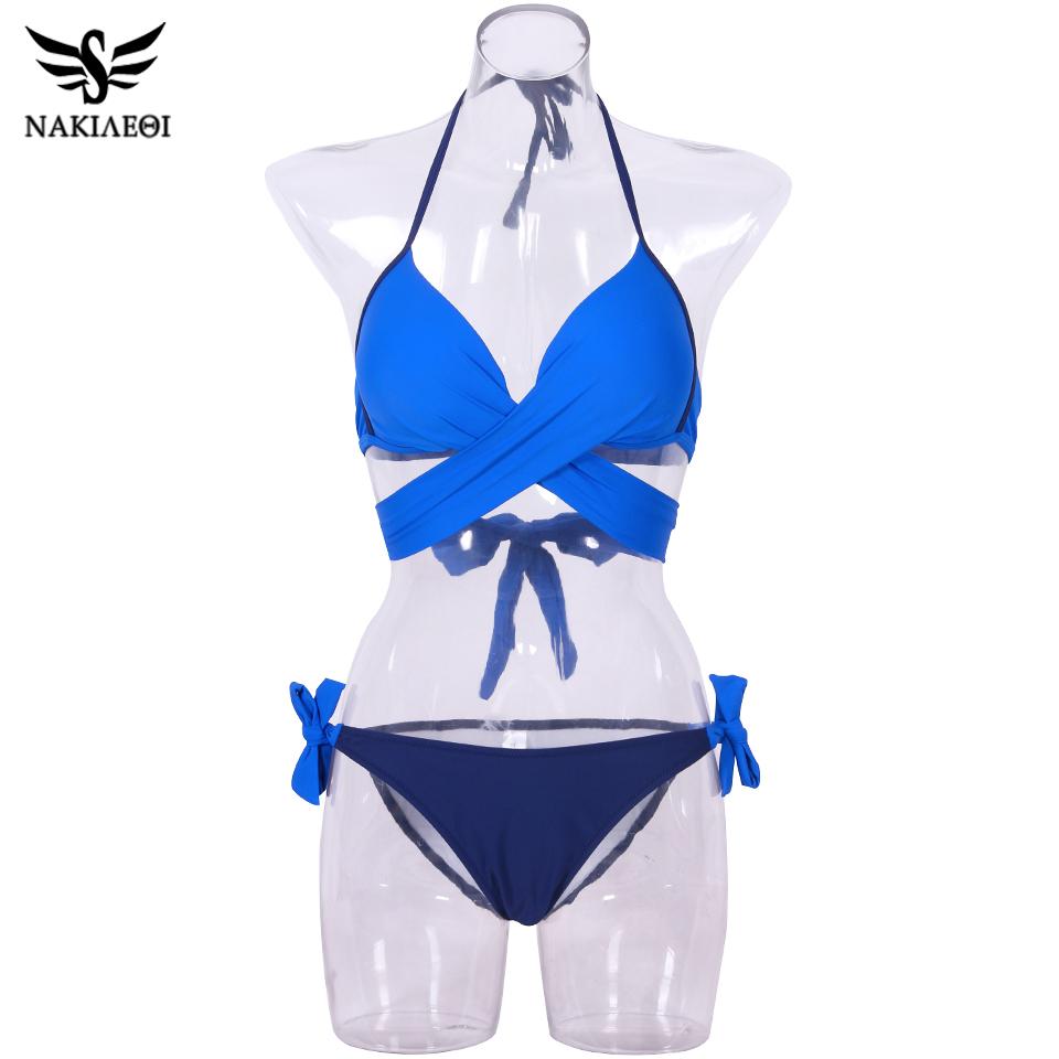 NAKIAEOI 19 Sexy Bikini Women Swimsuit Push Up Swimwear Criss Cross Bandage Halter Bikini Set Beach Bathing Suit Swim Wear XXL 69