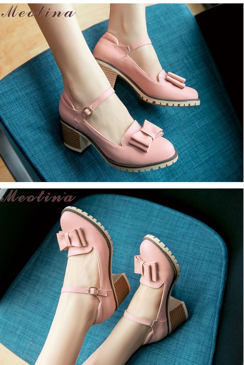 HTB1OBAnRFXXXXX9XFXXq6xXFXXXV - Meotina Women Pumps Lolita Shoes Platform High Heels Pink Shoes Bow Mary Jane Ladies Sweet Party Shoes Size 33-43 Zapatos Mujer