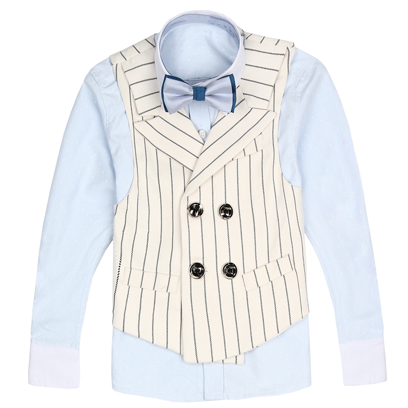 2017 autumn white stripped boys suit kids vest blazers boy suits for weddings prom formal wedding party waist coats for boys<br>