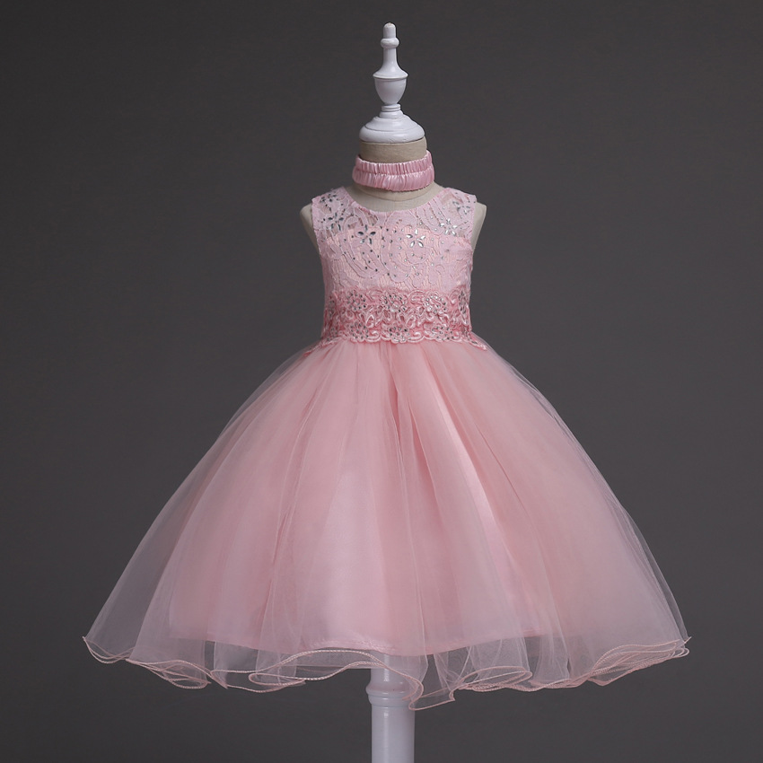 New Pink Children Dresses For Girls Kids Formal Wear Princess Dress ...