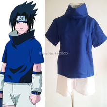 Naruto Shippuden Uchiha Sasuke 1st generation Unisex Cosplay Costume Clothing Sets (Tops Shirt+Short Pants+Arm&Leg Protector)
