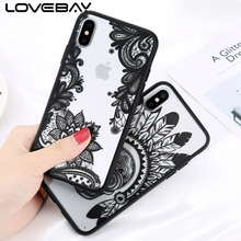 Lovebay For iPhone X Luxury Retro Sexy Lace Floral Mandala Palace Flower Phone Case Hard PC Transparent Back Cover Cases(China)
