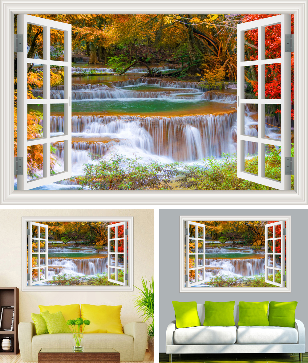 HTB1OBH7cGLN8KJjSZFmq6AQ6XXa0 - Waterfall 3D Window View Wallpaper Nature Landscape Wall Decals for Living Room