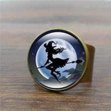 Halloween Jewelry Evil Sorcerer Silver Ring Art Glass Cabochon Anillos Mujer 2016 New Arrival Antique Ring Female Wholesale