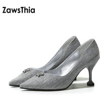 ZawsThia 2018 spring summer new pointed toe sexy woman pumps stiletto career office high heels women shoes small size 33 44 46(China)
