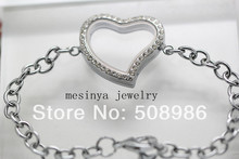 10PCS expensive Genuine bling sparkle czech crystal floating charm memory living glass curved heart locket bracelet 19-20cm(China)