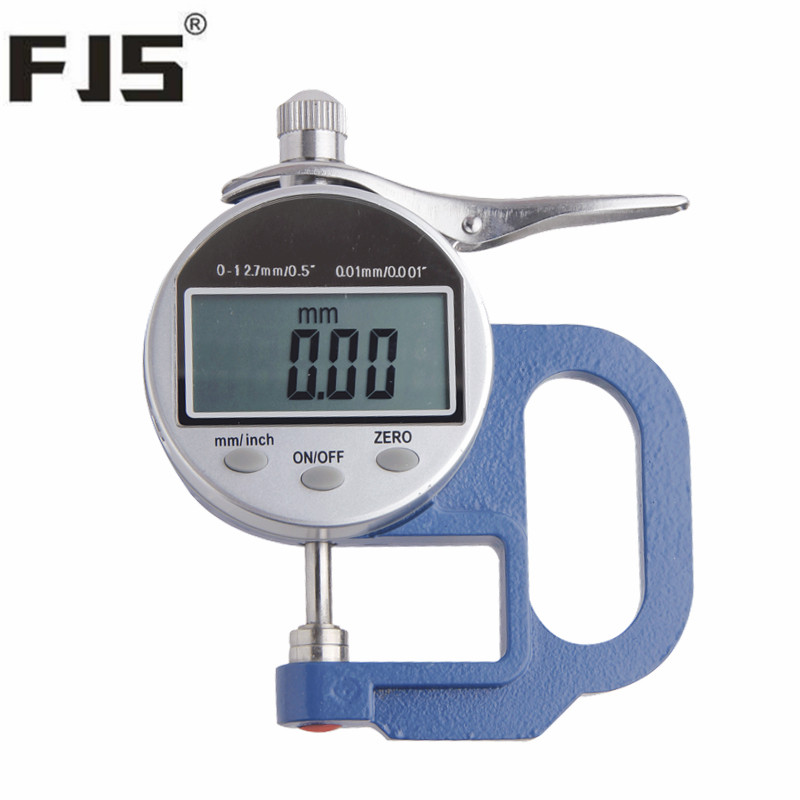 FJS Digital Thickness Gauge Tester Meter 0-12.7/0.01mm Electronic Dial Thickness Paper Leather Measuring Tools<br>