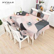 XYZLS Modern Cotton Linen Tablecloth Pink Grey Geometric Printed Thicken Table Cloth for Dining Table Decoration(China)