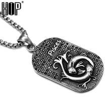 HIP Punk Casting Titanium Stainless Steel 12 Zodiac Signs Amulet Cancer Constellations Pendants Necklaces for Men Jewelry(China)