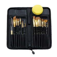 17 PCS Nylon Hair Artist Paint Brushes Palette Knife Sponge Set Long Handle with Storage Case Watercolors Acrylic Oil Painting(China)