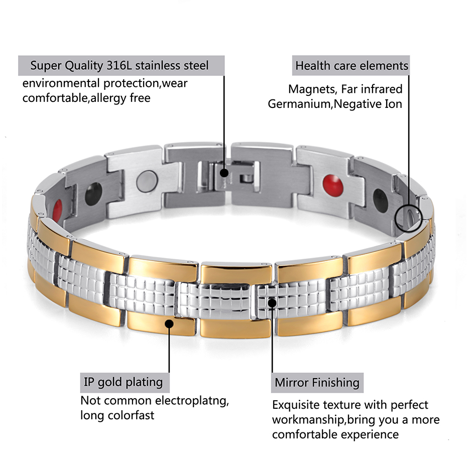 Energy Therapy Stainless Steel Bracelet  (3)