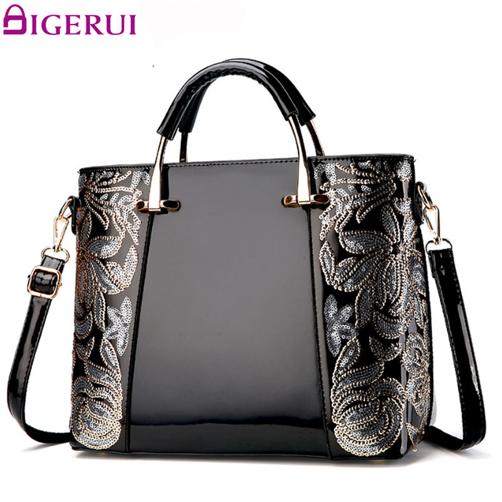DIGERUI Women Leather Handbag Flower Embroidery Shoulder Bag Black High Quality Vintage Patent Leather Women Totes A3364<br>
