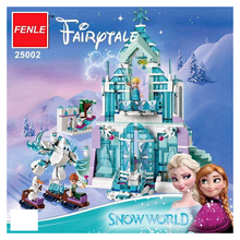 Lepin 25002 731pcs Snow World Series The Elsa`s Magical Ice Castle Set Building Blocks Bricks Toys Girl friend with  41148