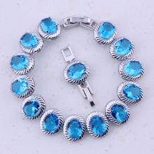 Show off Sky Blue Crystal Silver Color Fashion Charm Bracelets For Women Trendy Jewelry Valentine's Day Gift D0047(China)
