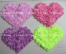 "Free USA ePacket/CPAP 5""x4"" 30pcs/lot 17colors Chiffon Rosette Shabby Heart,Shabby Chic Chiffon Heart Appliques,Hair Accessories"