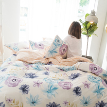 100% Cotton Bedding Sets New Style Big Flower Decorating Flat Sheet Pillowcase Bed Linens Duvet Cover Queen King Size Cover(China)