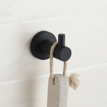 New Modern Black Simple Rubber Paint Clothes Hook 304 Stainless Steel Brushed Coat Towel Bathroom Accessories K65