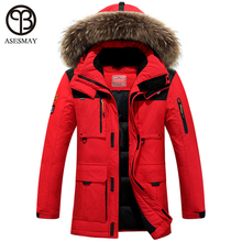 Asesmay 2016 winter jacket men coat duck down jacket with fur hood  Removable parka men coat masculine jacket Plus Size(China)